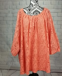 Catherines lace lined plus size 5x popover top